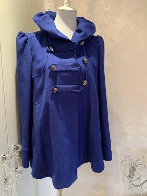 Jacke kurz  Mantel stahlblau neuwertig gr 12 steht drinnen gr 38 ??