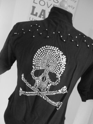 Jacke kurzärmlig Skull / Totenkopf Strass schwarz