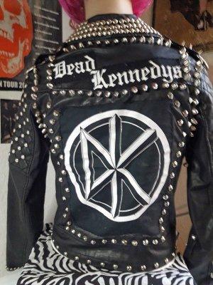 "Jacke Lederimitat ""100% Punk Rock"" Gr.S, Dead Kennedys, Handmade, Unikat, Top!!"