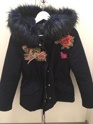 Jacke Mantel Fell Fake fur 34 36 xs s blau bunte patches Applikationen XXL