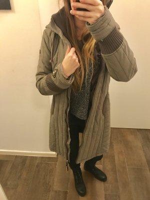 Jacke Mantel halblanger mantel Winterjacke mit Kaputze Khaki langärmlig