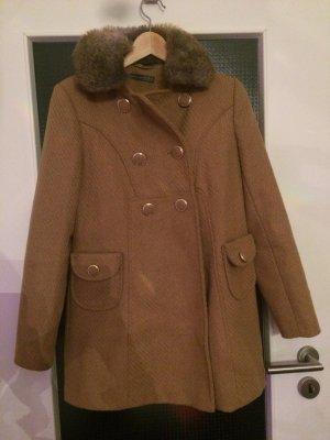 Jacke/Mantel neuwertig Größe 34 braun-beige mit Goldumrandeten knöpfen
