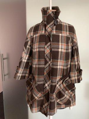 Jacke Mantel Poncho 3/4 Ärmeln Gr 38 M von Zara Trf Wool Collection, kariert
