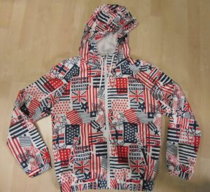 Jacke mit allover Print, luftig und leicht, Kapuze