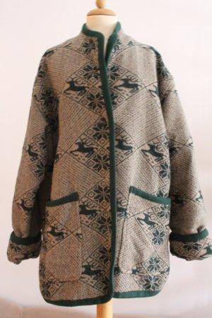 Oversized Jacket forest green-oatmeal wool