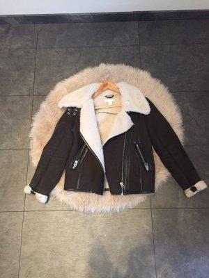 H&M Fur Jacket black-white