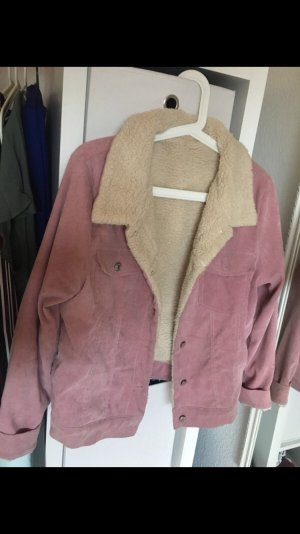 Giacca di pelliccia rosa-bianco sporco