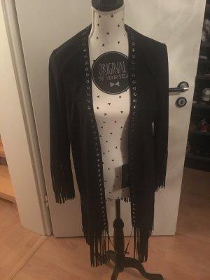 Jacke mit Fransen  schwarz Wildleder Optik