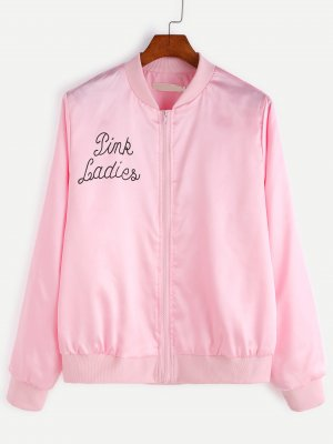 Jacke mit geripptem Saum Buchstaben Druck-rosa