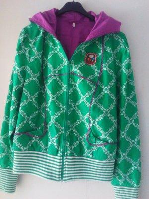 Veste à capuche vert-violet coton