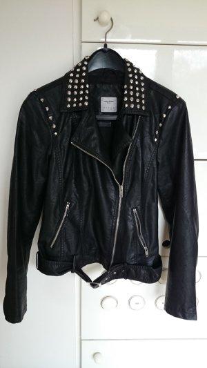 Jacke mit Nieten,  schwarz,  Lederimitat