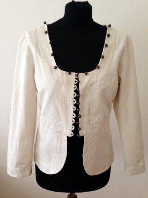 Jacke mit Schößchen von Chloé in creme, Größe F 42 (D 40)