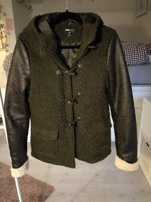 Jacke Parka khaki fake leather fur warm braun