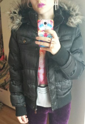 Jacke Parka Wattiert Gefüttert XL Kapuze Fell Pelz Fake Fur Winter Blogger Trend