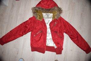 Jacke rot Kenvelo Gr. M mit Fell-Kapuze gebraucht (Sehr guter Zustand)