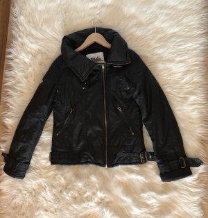 Jacke schwarz in Lederoptik Bikerjacke