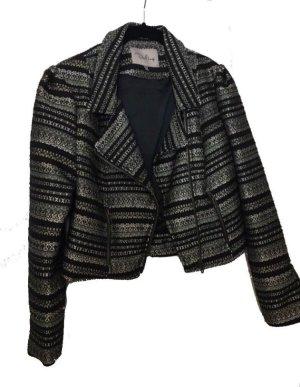 Jacke schwarz mit goldenen Details Blazer elegant Biker Jacket