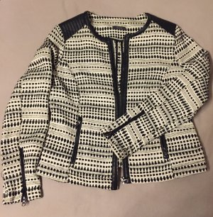 Jacke, schwarz-weiß gemustert mit Lederapplikationen, Yessica, Größe 40