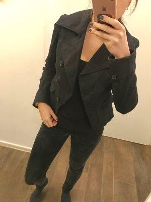 Jacke Sommerjacke dünn Überzieher Jackett schwarz zum knöpfen langärmlig