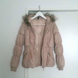 Jacke Steppjacke Fake Fur Fellkapuze Blogger Nude H&M Gr. 34