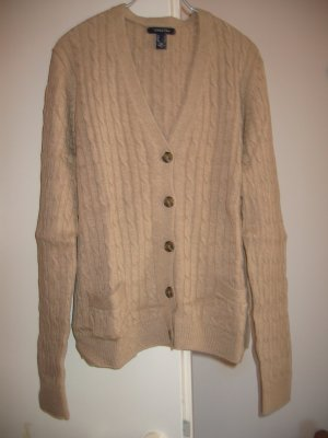 Jacke Strickjacke Cardigan Gr. 40 beige Zopfmuster LANDS' END
