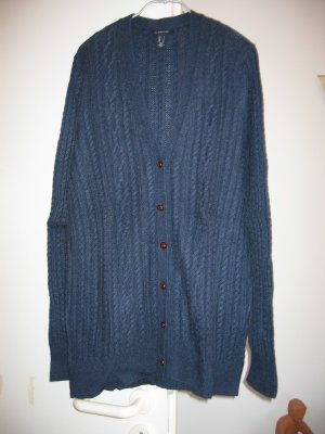 Jacke Strickjacke Cardigan Gr. 40 blau Zopfmuster LANDS' END