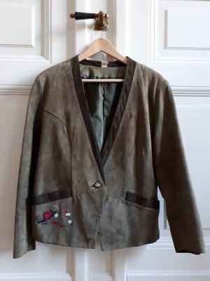 Vintage Giacca tradizionale marrone-grigio-grigio-verde Pelle