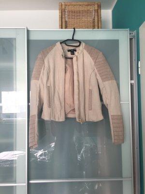 Jacke Übergangsjacke Bikerjacke XS/34 rosa beige