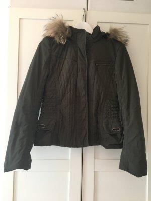 Jacke Übergangsjacke gesteppt echt Fell an der Kapuze Laurèl Gr. 36 Farbe olive / khaki