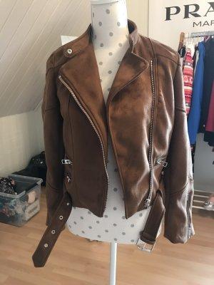 Zara Veste en cuir synthétique marron clair-brun chanvre