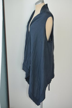 Gap Long Knitted Vest steel blue wool