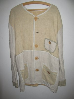 Jacke Weste Leinen Vintage Retro sehr hochwertig handmade oversize