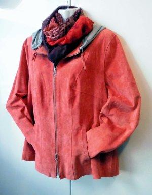 BC Collection Chaqueta de cuero rojo frambuesa Gamuza