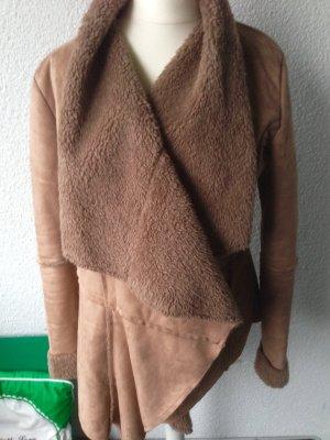 Jacke Wildlederimitat Fleece beige XS-S innen sehr weich und warm neu