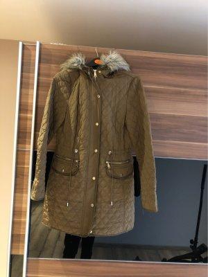 Zara Abrigo con capucha caqui-marrón