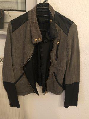 Zara Veste en cuir synthétique noir-kaki