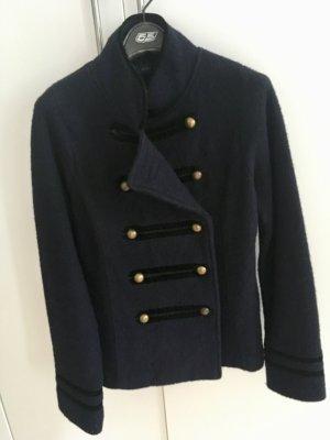 Zara Chaqueta militar azul oscuro Lana