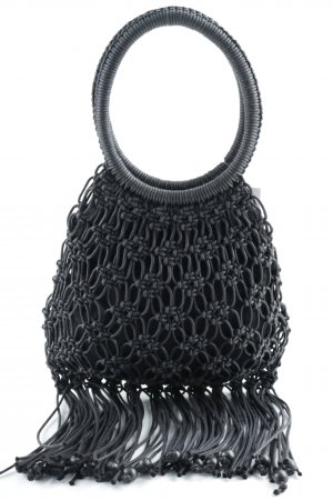 Jackie Rose Fringed Bag black weave pattern Boho look