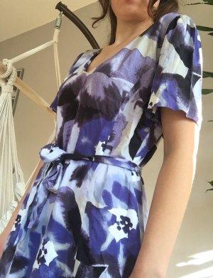 Jackpot Designer Sommer Kleid Blumen lila weiß Hochzeit Seide 40 M Neu