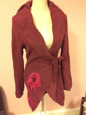 Jackpot Knitted Wrap Cardigan purple-neon pink