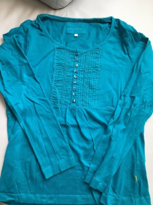 JACKPOT T-Shirt, langarm, türkis, Gr. L mit Verzierung und Knöpfen, NEU und ungetragen