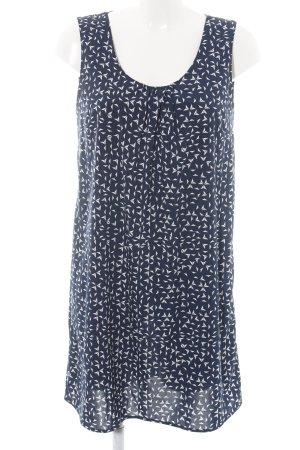 Jacqueline de Yong Blusenkleid blau-weiß Allover-Druck schlichter Stil