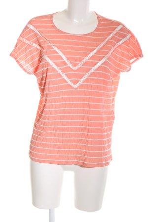 Jacqueline de Yong T-Shirt hellorange-weiß Streifenmuster Casual-Look