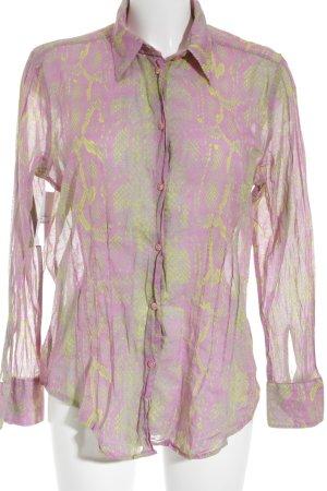 Jacques britt Langarm-Bluse rosa-neongelb Farbtupfermuster Retro-Look