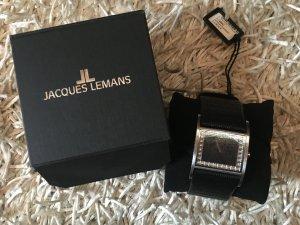 Jacques Lemans Montre avec bracelet en cuir noir