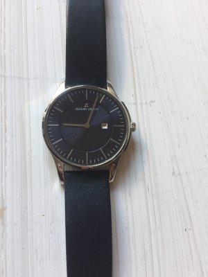 Jacques Lemans Montre avec bracelet en cuir bleu foncé-argenté
