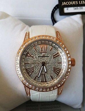 Jacques Lemans Reloj con pulsera de cuero blanco-color rosa dorado