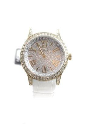 Jacques Lemans Uhr mit Lederarmband weiß-goldfarben extravaganter Stil