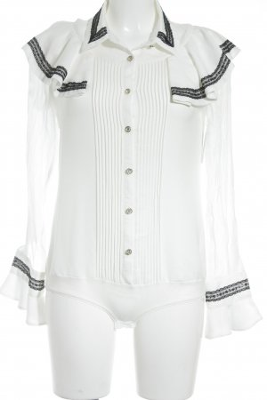 Jade & Cloud Langarm-Bluse weiß-schwarz Elegant