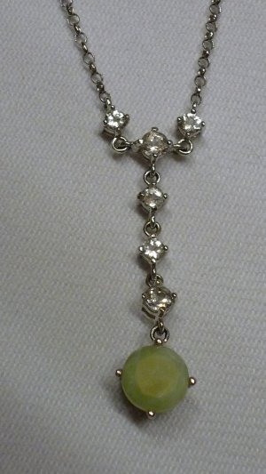 Jade of Yesteryear Collier 925er Sterlingsilber mit Jade + Zirkonia